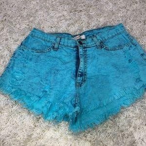 Vibrant acid wash shorts